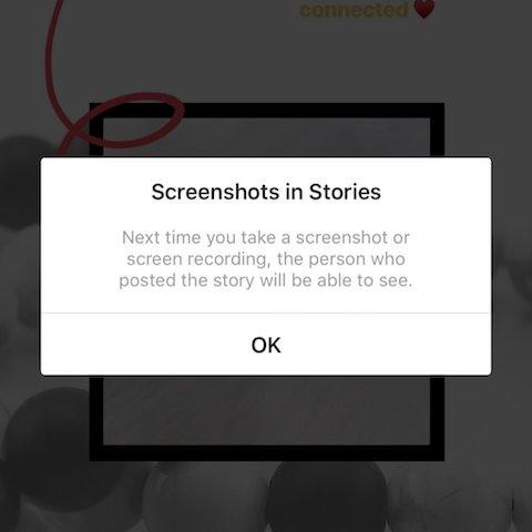 screenshot on instagram stories notification